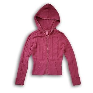 Pink Roxy Cable knit sweater full zip hoodie vegan